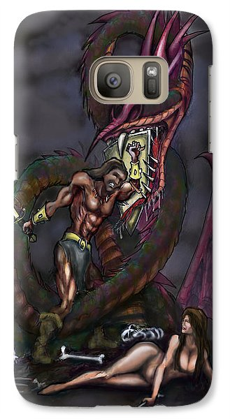 Galaxy Case featuring the painting Dragonslayer by Kevin Middleton