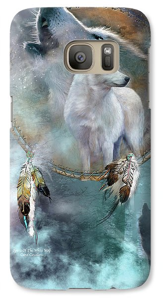 Dream Catcher - Spirit Of The White Wolf Galaxy S7 Case by Carol Cavalaris