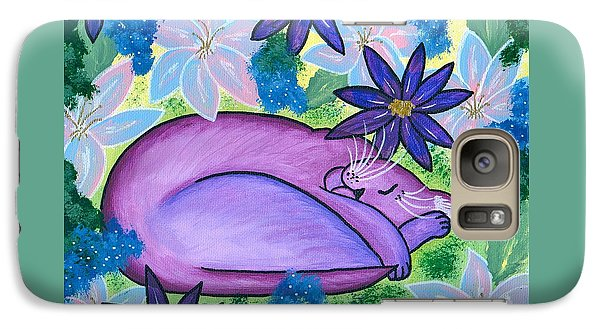 Galaxy Case featuring the painting Dreaming Sleeping Purple Cat by Carrie Hawks