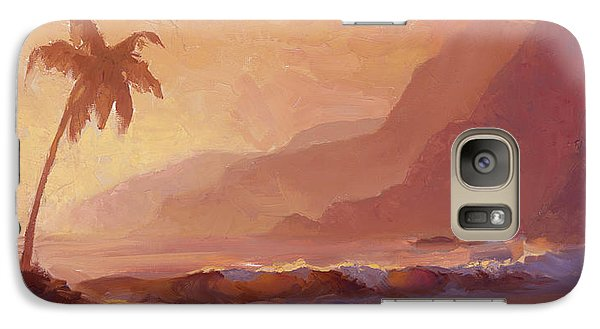 Galaxy Case featuring the painting Dreams Of Hawaii - Tropical Beach Sunset Paradise Landscape Painting by Karen Whitworth