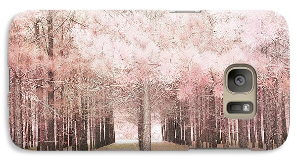 Galaxy Case featuring the photograph Dreamy Shabby Chic Pink Nature Pink Trees Woodlands - Pink Nature Nursery Prints Decor by Kathy Fornal