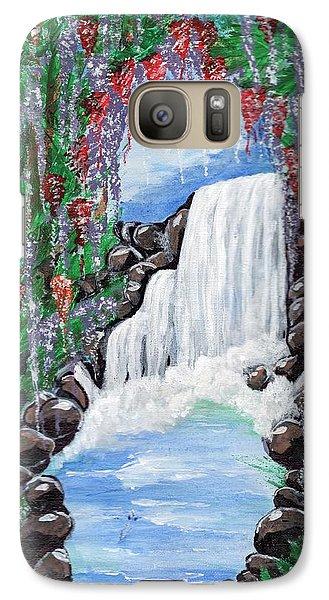 Galaxy Case featuring the painting Dreamy Waterfall by Saranya Haridasan