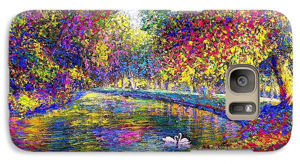 Drifting Beauties, Swans, Colorful Modern Impressionism Galaxy S7 Case