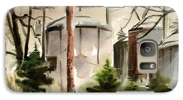 Galaxy Case featuring the painting Drizzle Mists Midst Furry Pines Plein Air by Charlie Spear