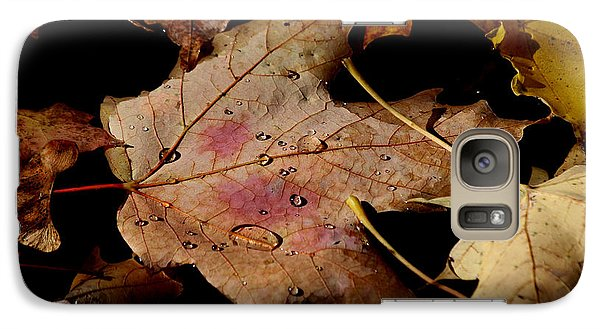Galaxy Case featuring the photograph Droplets On Fallen Leaves by Doris Potter