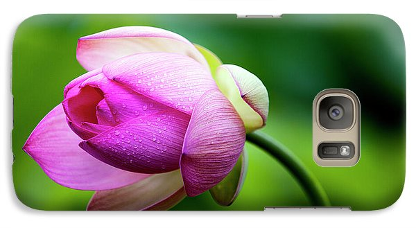 Galaxy Case featuring the photograph Droplets On Lotus by Edward Kreis