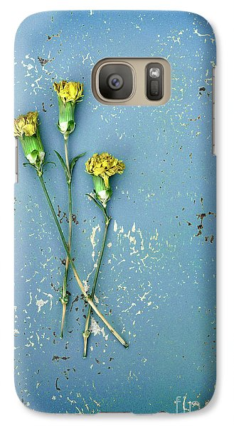 Galaxy Case featuring the photograph Dry Flowers On Blue by Jill Battaglia