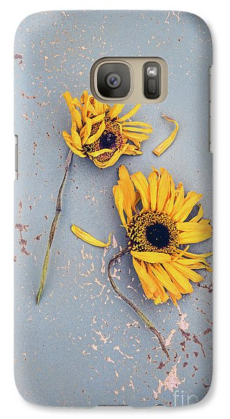 Galaxy Case featuring the photograph Dry Sunflowers On Blue by Jill Battaglia