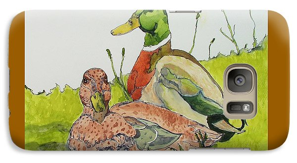Galaxy Case featuring the painting Ducks In Love by Rand Swift
