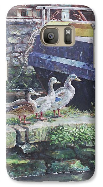 Galaxy Case featuring the painting Ducks On Dockside by Martin Davey
