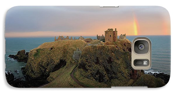 Galaxy Case featuring the photograph Dunnottar Castle Sunset Rainbow by Grant Glendinning