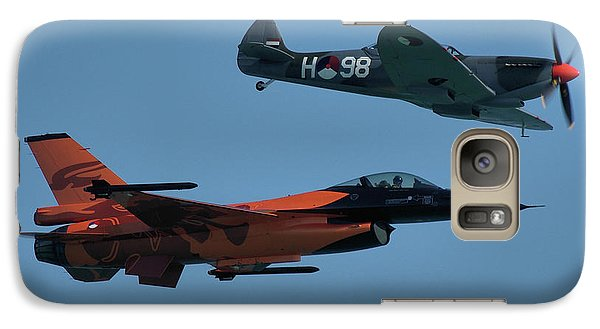 Galaxy Case featuring the photograph Dutch F-16 And Spitfire by Tim Beach
