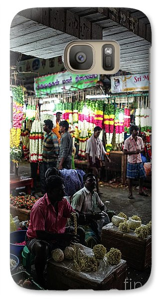 Galaxy Case featuring the photograph Early Morning Koyambedu Flower Market India by Mike Reid