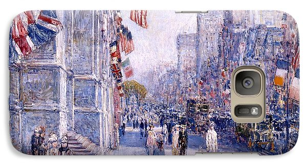 Galaxy Case featuring the painting Early Morning On The Avenue In May 1917 - 1917 by Frederick Childe Hassam
