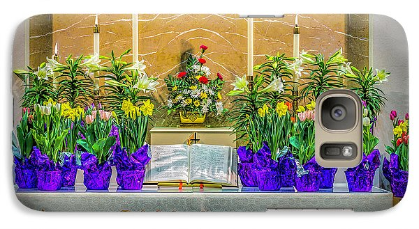 Galaxy Case featuring the photograph Easter Alter And Flowers by Nick Zelinsky