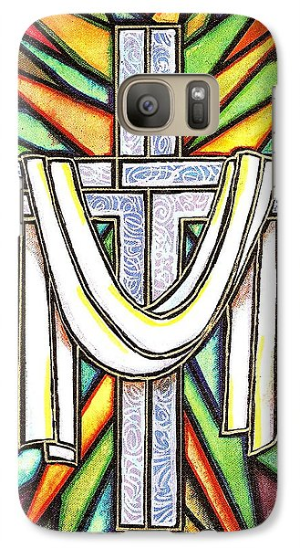 Galaxy Case featuring the painting Easter Cross 5 by Jim Harris