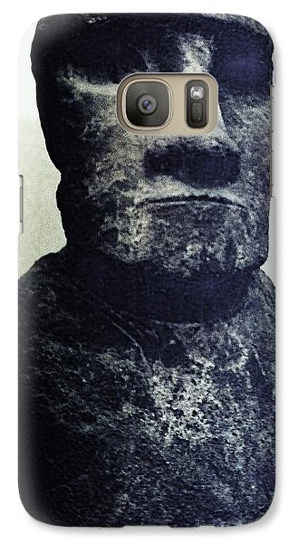 Galaxy Case featuring the painting Easter Island Stone Statue by Eric  Schiabor
