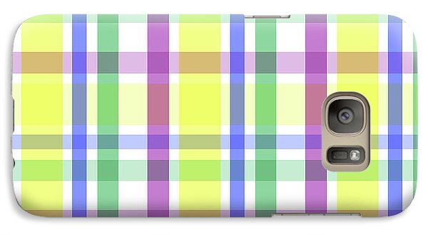 Galaxy Case featuring the digital art Easter Pastel Plaid Striped Pattern by Shelley Neff
