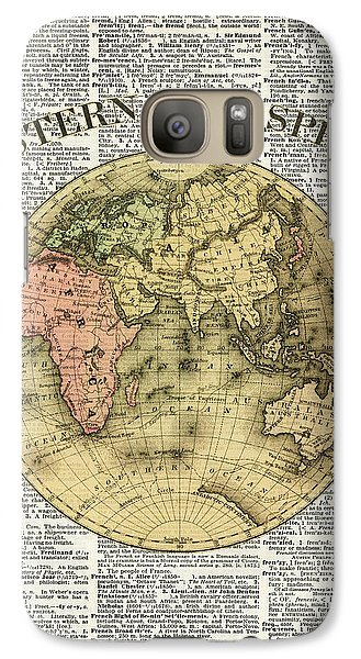 Eastern Hemisphere Earth Map Over Dictionary Page Galaxy Case by Jacob Kuch