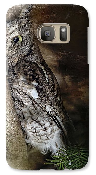 Galaxy Case featuring the photograph Eastern Screech Owl Plays Peek A Boo by Eleanor Abramson