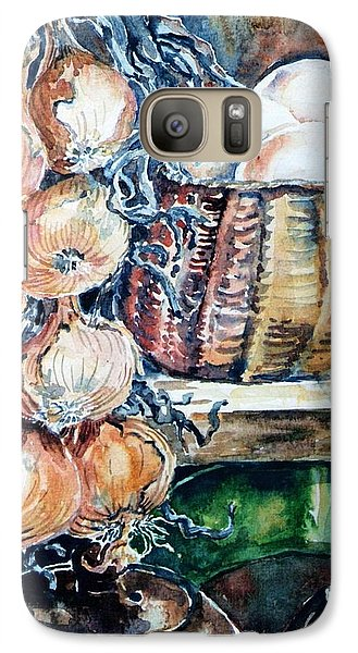 Galaxy Case featuring the painting Eggs And Onions In The Larder  by Trudi Doyle