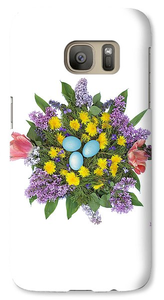 Galaxy Case featuring the photograph Eggs In Dandelions, Lilacs, Violets And Tulips by Lise Winne
