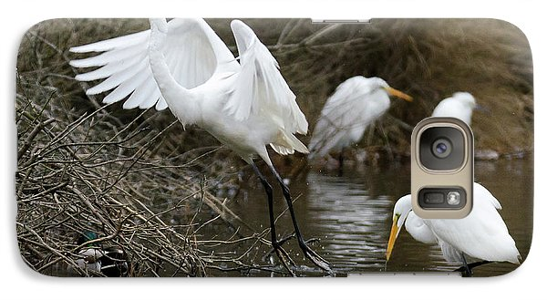 Galaxy Case featuring the photograph Egret Exit by George Randy Bass