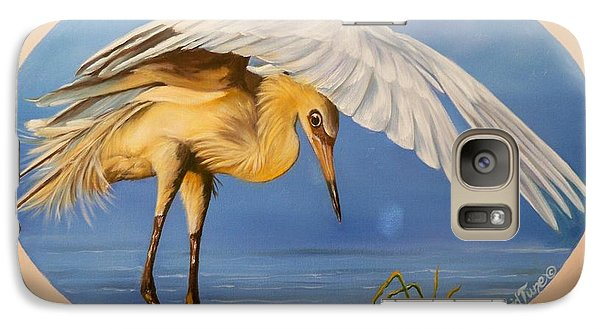 Galaxy Case featuring the painting Egret Fishing by Sigrid Tune