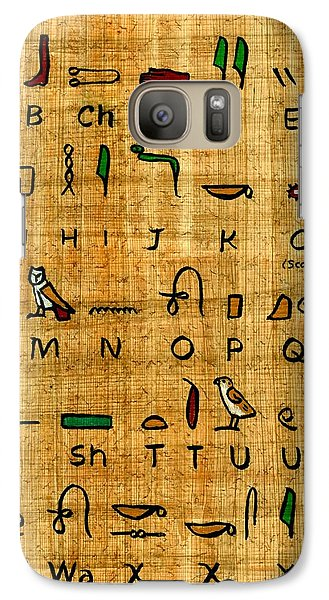 Galaxy Case featuring the painting Egyptian Alphabet by Pet Serrano