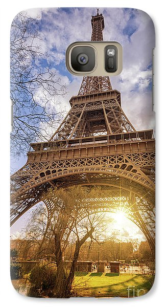 Galaxy Case featuring the photograph Eiffel Sunset by Delphimages Photo Creations