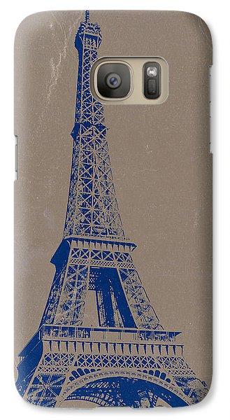 Eiffel Tower Blue Galaxy S7 Case by Naxart Studio