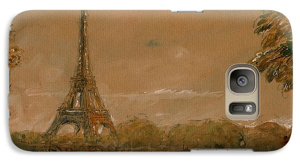 Eiffel Tower Galaxy S7 Case - Eiffel Tower Paris Watercolor by Juan  Bosco