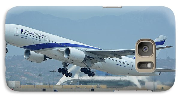 Galaxy Case featuring the photograph El Al Boeing 777-258er 4x-ece Los Angeles International Airport May 3 2016 by Brian Lockett