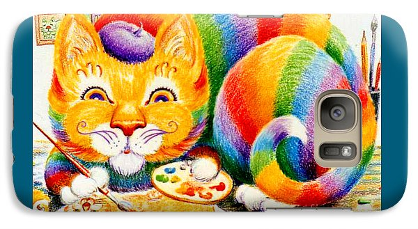 Galaxy Case featuring the drawing el Gato Artisto by Dee Davis
