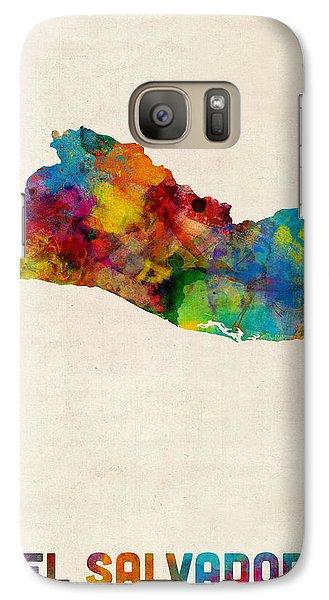 El Salvador Watercolor Map Galaxy Case by Michael Tompsett