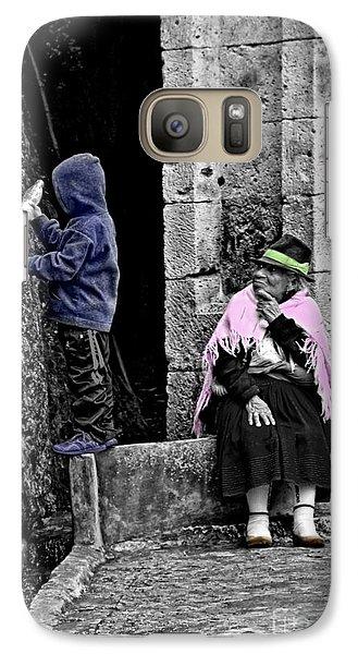 Galaxy Case featuring the photograph Elderly Beggar In Biblian II by Al Bourassa