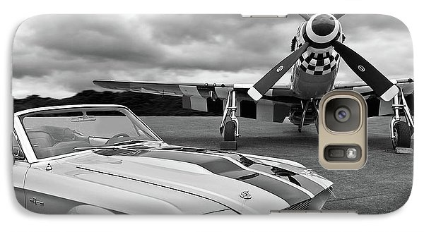 Airplanes Galaxy S7 Case - Eleanor Mustang With P51 Black And White by Gill Billington