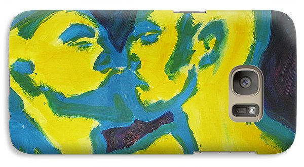 Galaxy Case featuring the painting Electric Kiss by Shungaboy X