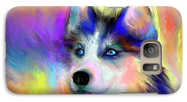 Electric Siberian Husky Dog Painting Galaxy Case by Svetlana Novikova