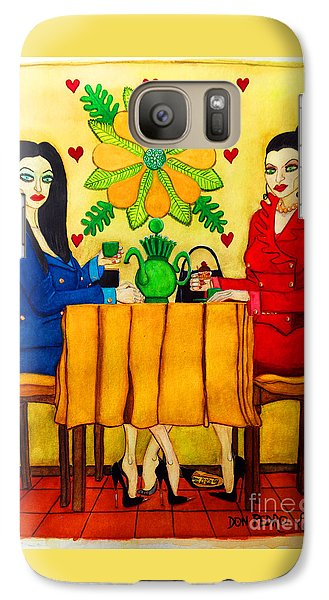 Galaxy Case featuring the painting Elegant Ladies In A Coffee-shop by Don Pedro De Gracia