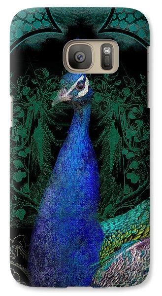 Elegant Peacock W Vintage Scrolls  Galaxy S7 Case by Audrey Jeanne Roberts