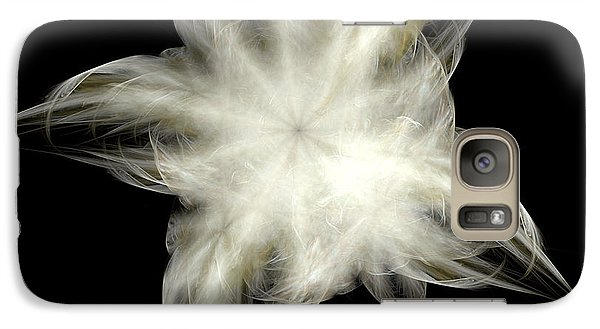 Galaxy Case featuring the digital art Elegant White Feathers by Richard Ortolano