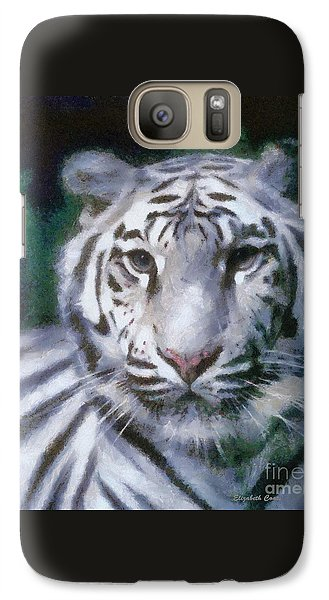 Galaxy Case featuring the painting Elegant White Tiger by Elizabeth Coats