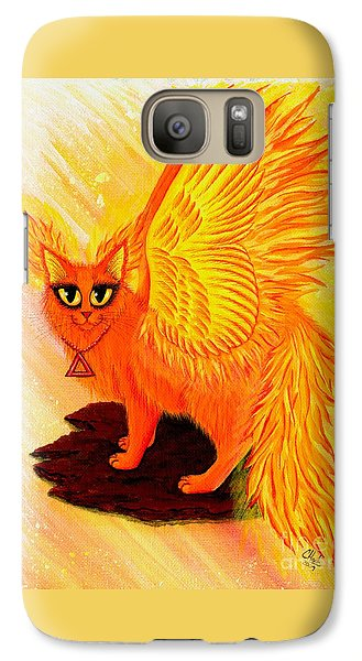 Galaxy Case featuring the painting Elemental Fire Fairy Cat by Carrie Hawks