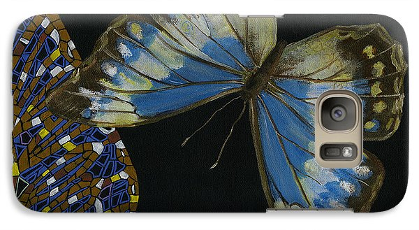 Galaxy Case featuring the painting Elena Yakubovich - Butterfly 2x2 Top Right Corner by Elena Yakubovich