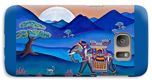 Galaxy Case featuring the painting Elephant And Monkey Stroll by Lori Miller