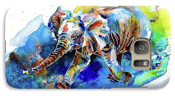 Galaxy Case featuring the painting Elephant Calf Playing With Butterfly by Zaira Dzhaubaeva