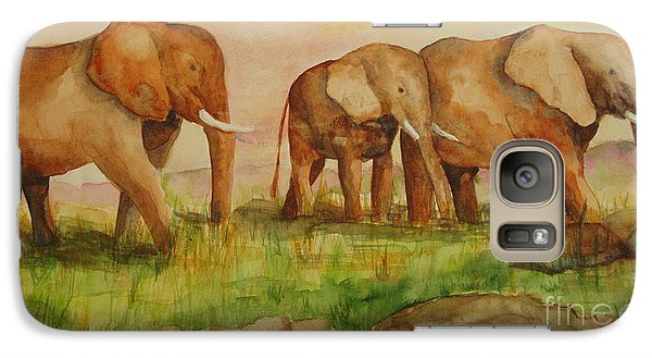 Galaxy Case featuring the painting Elephant Parade by Vicki  Housel