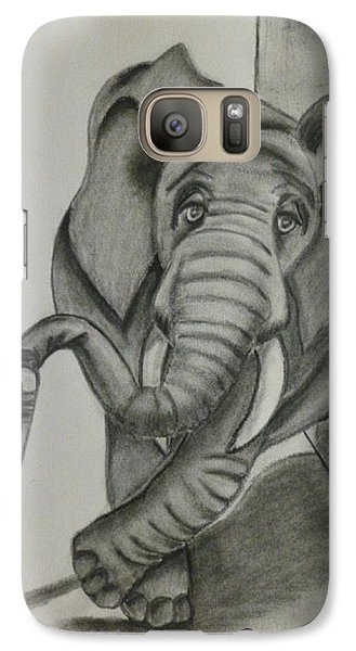 Galaxy Case featuring the drawing Elephant Still Waiting by Kelly Mills