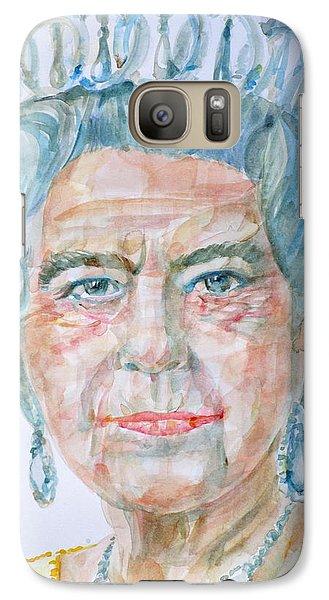 Galaxy Case featuring the painting Elizabeth II - Watercolor Portrait.2 by Fabrizio Cassetta